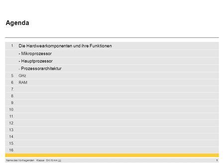 Agenda Die Hardwearkomponenten und ihre Funktionen - Mikroprozessor