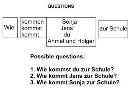 Wie kommen kommst kommt Sonja Jens du Ahmet und Holger zur Schule QUESTIONS Possible questions: 1. Wie kommst du zur Schule? 2. Wie kommt Jens zur Schule?