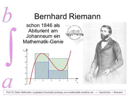 Bernhard Riemann schon 1846 als Abiturient am Johanneum ein Mathematik-Genie Prof. Dr. Dörte Haftendorn, Leuphana Universität Lüneburg, www.mathematik-verstehen.de.