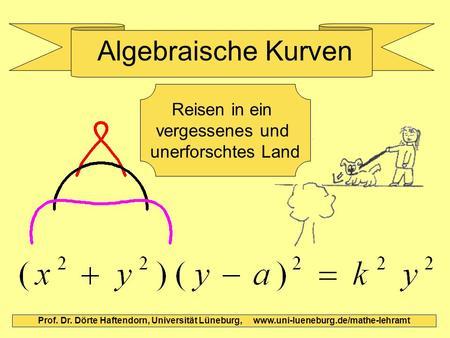 Algebraische Kurven Prof. Dr. Dörte Haftendorn, Universität Lüneburg, www.uni-lueneburg.de/mathe-lehramt Reisen in ein vergessenes und unerforschtes Land.