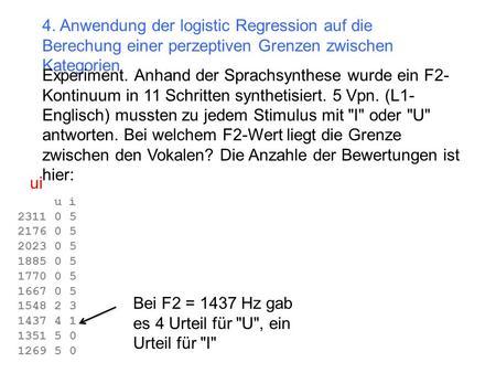 4. Anwendung der logistic Regression auf die Berechung einer perzeptiven Grenzen zwischen Kategorien Experiment. Anhand der Sprachsynthese wurde ein F2-