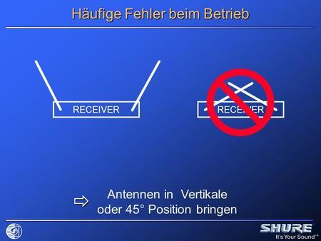 Häufige Fehler beim Betrieb RECEIVER Antennen in Vertikale oder 45° Position bringen.