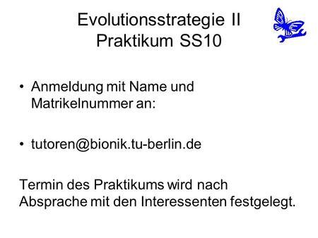Evolutionsstrategie II Praktikum SS10 Anmeldung mit Name und Matrikelnummer an: Termin des Praktikums wird nach Absprache mit.