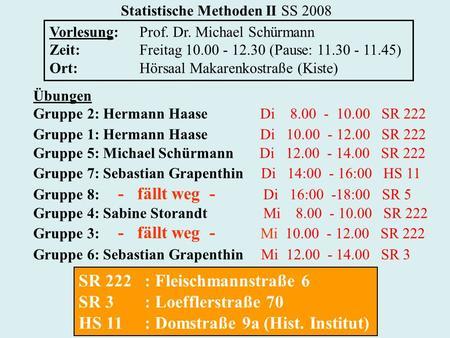Statistische Methoden II SS 2008 Vorlesung:Prof. Dr. Michael Schürmann Zeit:Freitag 10.00 - 12.30 (Pause: 11.30 - 11.45) Ort:Hörsaal Makarenkostraße (Kiste)