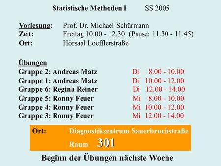 Statistische Methoden I SS 2005 Vorlesung:Prof. Dr. Michael Schürmann Zeit:Freitag 10.00 - 12.30 (Pause: 11.30 - 11.45) Ort:Hörsaal Loefflerstraße Übungen.