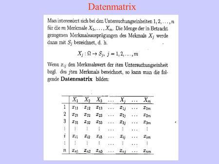 Datenmatrix. Datentabelle für 2 Merkmale Kontingenztafel der absoluten Häufigkeiten.