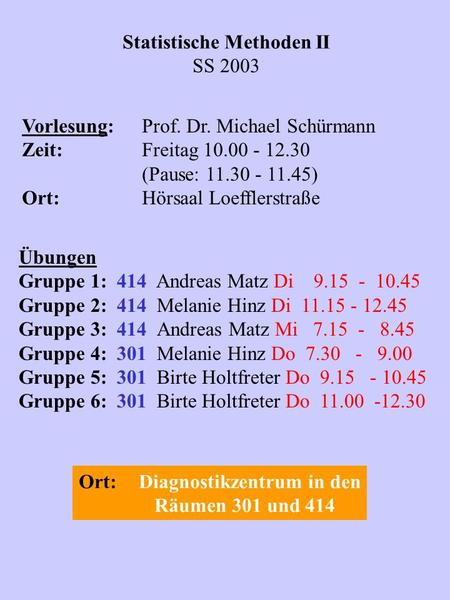 Statistische Methoden II SS 2003 Vorlesung:Prof. Dr. Michael Schürmann Zeit:Freitag 10.00 - 12.30 (Pause: 11.30 - 11.45) Ort:Hörsaal Loefflerstraße Übungen.