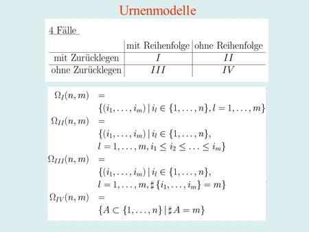 Urnenmodelle. Die Normalverteilung (Gauß-Verteilung) (Gaußsche Glockenkurve)