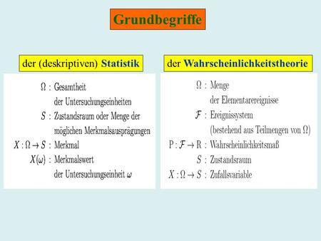 Grundbegriffe der (deskriptiven) Statistikder Wahrscheinlichkeitstheorie.