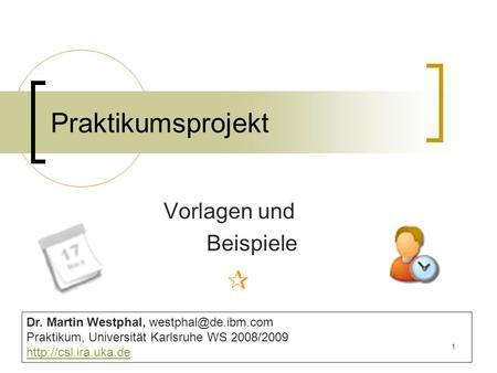 1 Praktikumsprojekt Vorlagen und Beispiele Dr. Martin Westphal, Praktikum, Universität Karlsruhe WS 2008/2009